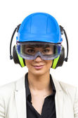 Young woman in protective workwear — Stock Photo
