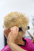 Young woman at hairdresser — Stock Photo