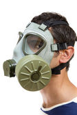 Young man with gas mask — Stock Photo