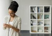 Woman using phone — Stock Photo