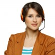 Woman in headset — Stock Photo