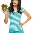 Woman holding healthy salad — Stock Photo