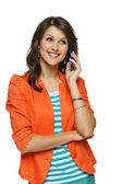 Woman talking on cellphone — Stock Photo