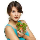 Woman holding transparent bowl with healthy salad — Stock Photo