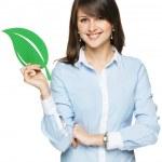 Woman holding eco leaf — Stock Photo