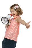 Little girl with megaphone — Stock Photo