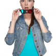 Young female with 3d glasses — Stockfoto