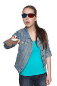 Young female with 3d glasses — Stock Photo