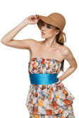 Fashion woman wearing light chiffon dress and a hat — Foto Stock