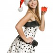 Santa girl showing blank card — Stock Photo