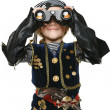 Stock Photo: Girl wearing costume of pirate looking away through binoculars