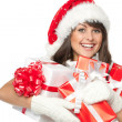 Woman holding gifts wearing — Stock Photo #34883891