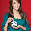 Woman with snowflake — Stock Photo