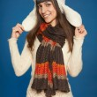 Winter woman in warm clothing — Stock Photo