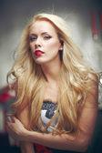 Beautiful blond model posing — Stock Photo