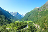Village at the foot of mountain in Norway — Stock Photo