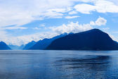 Mountains and fjord in the late afternoon — Foto Stock