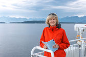 Woman tourist sailing on a sightseeing ferry boat — ストック写真
