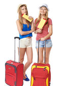 Funky girls travelers — Stock Photo