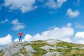 Woman hiker on wild nature — Stock Photo