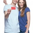 Happy couple with credit card — Stock Photo #47511615