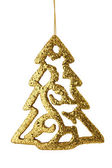 Golden christmas tree isolated — Stock Photo