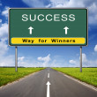 Success road sign on blue sky background — Stock Photo