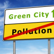 Green city road sign concept — Stock Photo