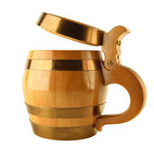 Mug for beer as wooden barrel — Stock Photo