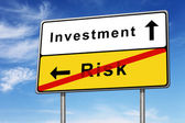 Investment and risk road sign concept — Stock Photo