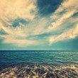 Blue sea water and beautiful clouds — Stock Photo