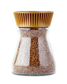 Instant coffee in glass jar isolated — Foto Stock