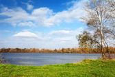 Paesaggio con lago e l'erba verde — Foto Stock