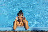Pretty female swimmer — Foto Stock