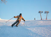 Skier in the rotation at the ski resort — Stock Photo