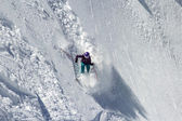 Woman Snow Skier on a dangerous, steep slope — Stok fotoğraf