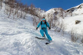 Woman skier in the extreme zone — 图库照片