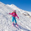 Stock Photo: Little Girl on skis