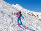 Little Girl on skis — Stock Photo