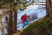 Little girl in the mountains — Stok fotoğraf