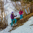 Stock Photo: Skiers Mother and daughter resting