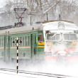 Stock Photo: Passenger train in snow