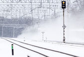 Passenger train in the snow — Stock Photo