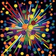 Colorful balls firework — Stock Vector