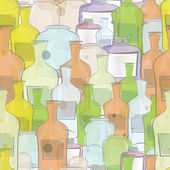 Water color bottles seamless vector — Vector de stock
