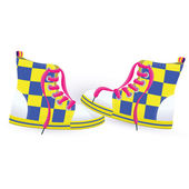 Two yellow sneakers — Stock Vector