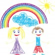 Crayon pained kids and rainbow — Stock Vector