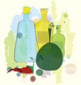 Flessen water kleur en rode peper vector — Stockvector