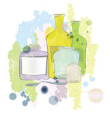 Water color jars and bottles vector — Vector de stock