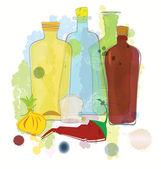 Vecteur poivron et l'oignon bouteilles de couleur eau — Vecteur